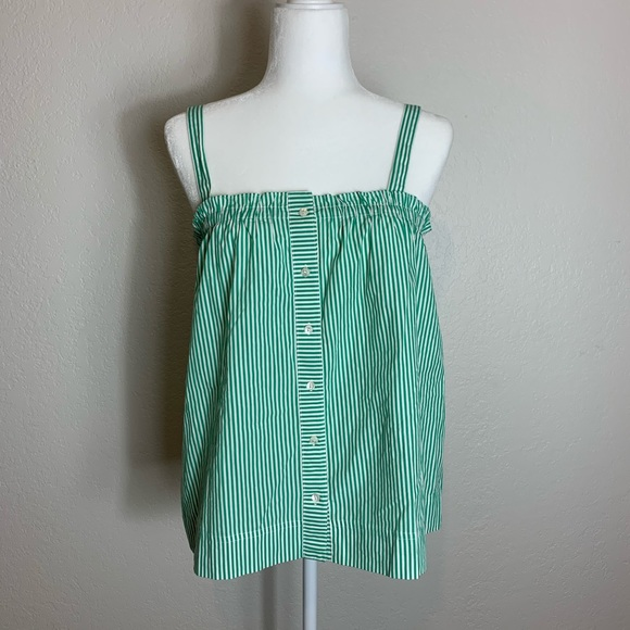 J. Crew Tops - J. Crew Green & White Sleeveless Blouse